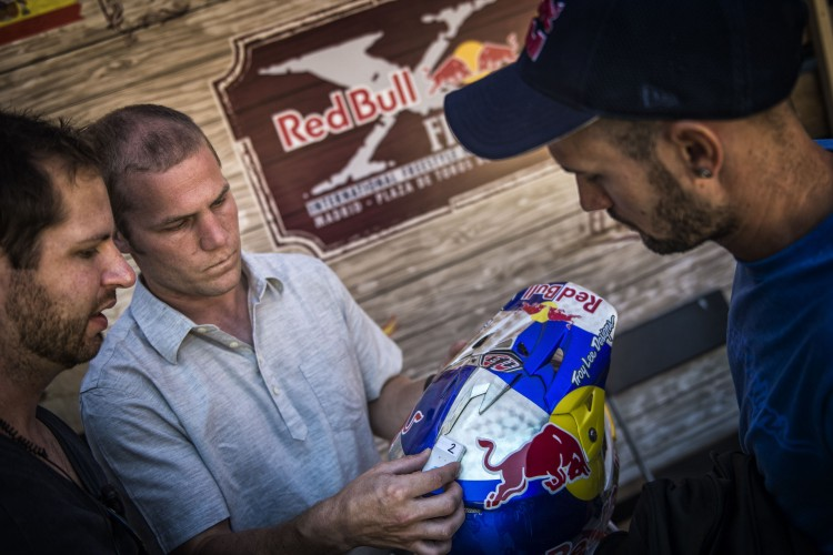 Technican seen with an Intel Curie chip at the Red Bull X-Fighters in Madrid, Spain on June 22, 2016.