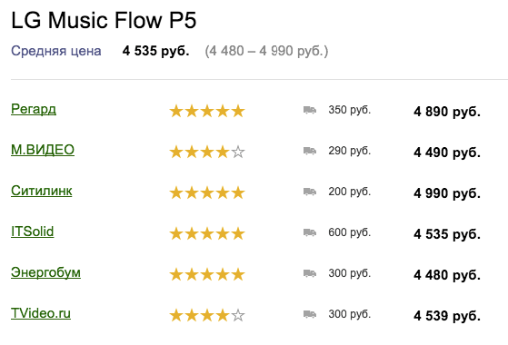 Цены на колонку LG Music Flow P5 NP5550W, февраль 2016